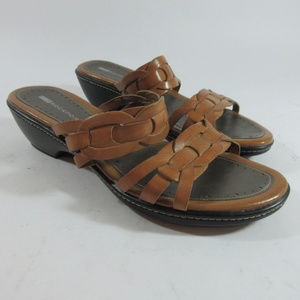 Rockport Brown Leather Woven Slide Sandals Womens